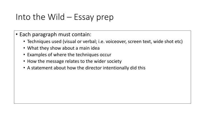 into the wild essay prompts This lesson will include essential questions and answers from jon krakauer's 'into the wild' these questions and answers will be organized by chapter and will help your students in comprehension.