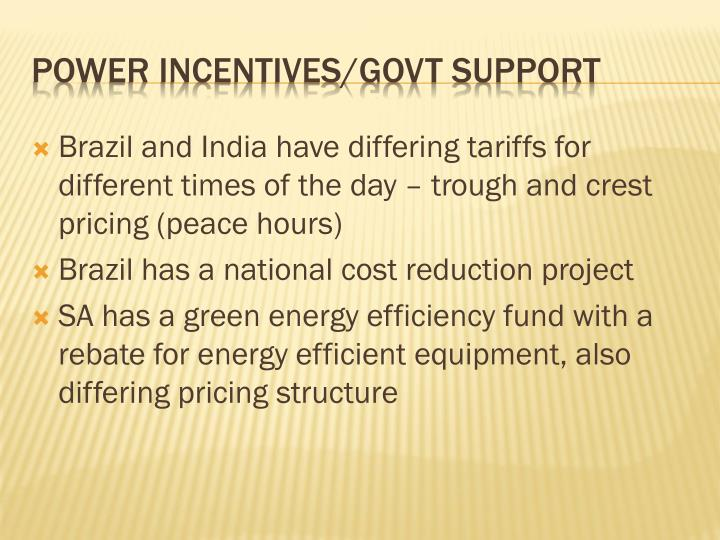 Brazil and India have differing tariffs for different times of the day – trough and crest pricing (peace hours)