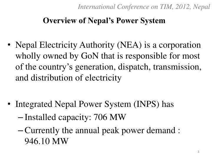Overview of nepal s power system