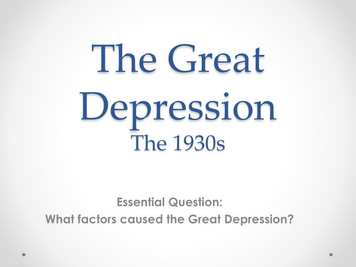 the great depression the 1930s n.