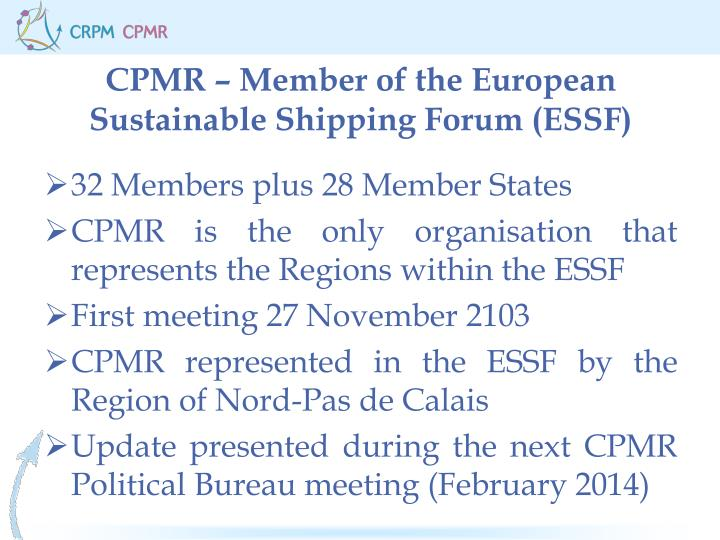 CPMR – Member of the European Sustainable Shipping Forum (ESSF)