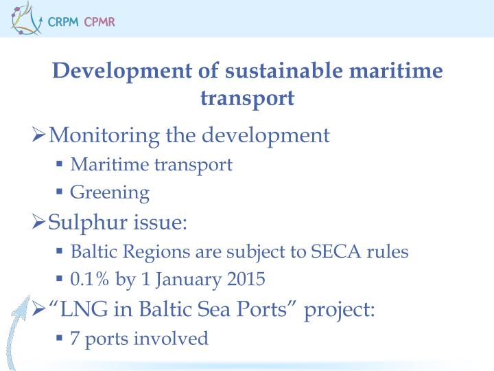 Development of sustainable maritime transport