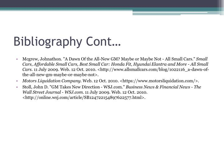 Bibliography Cont…