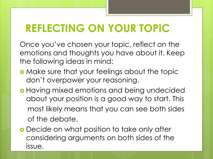 REFLECTING ON YOUR TOPIC