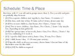 schedule time place