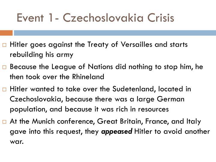 Event 1- Czechoslovakia Crisis