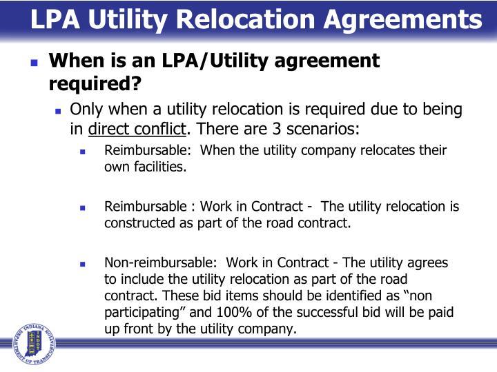 LPA Utility Relocation Agreements