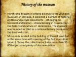 histor y of the museum