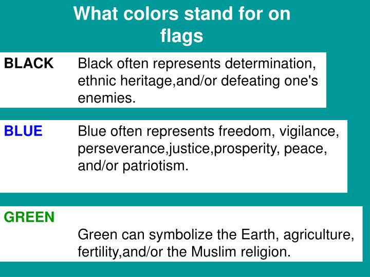What colors stand for on flags