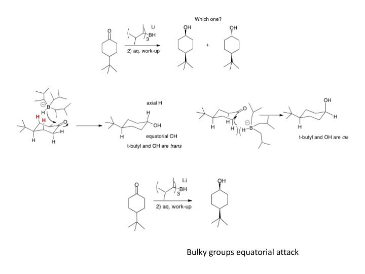 Bulky groups equatorial attack