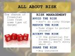 all about risk