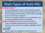 main types of auto ins