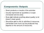 components outputs