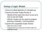 using a logic model