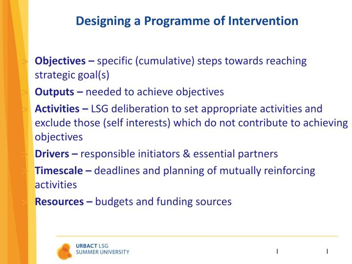 Designing a Programme of Intervention