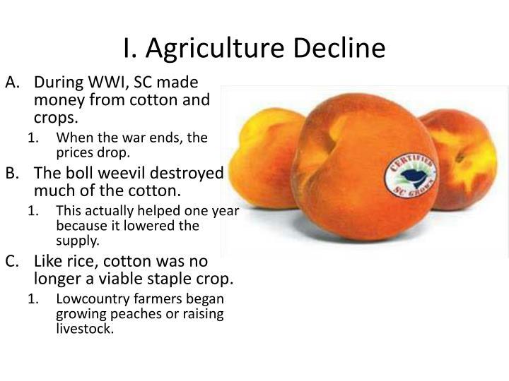 I agriculture decline