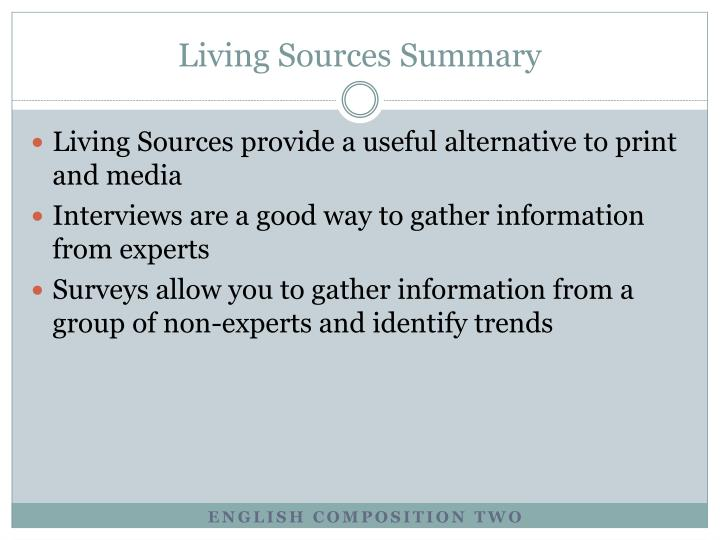 Living Sources Summary