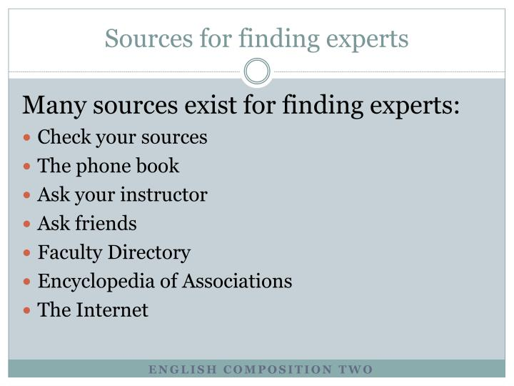 Sources for finding experts