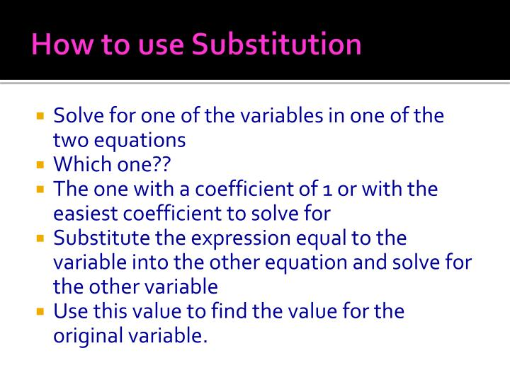 How to use Substitution
