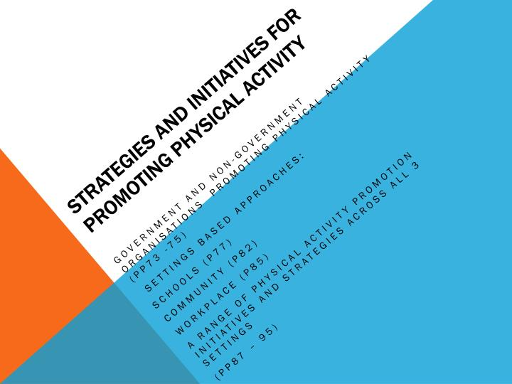 strategies and initiatives for promoting physical activity n.