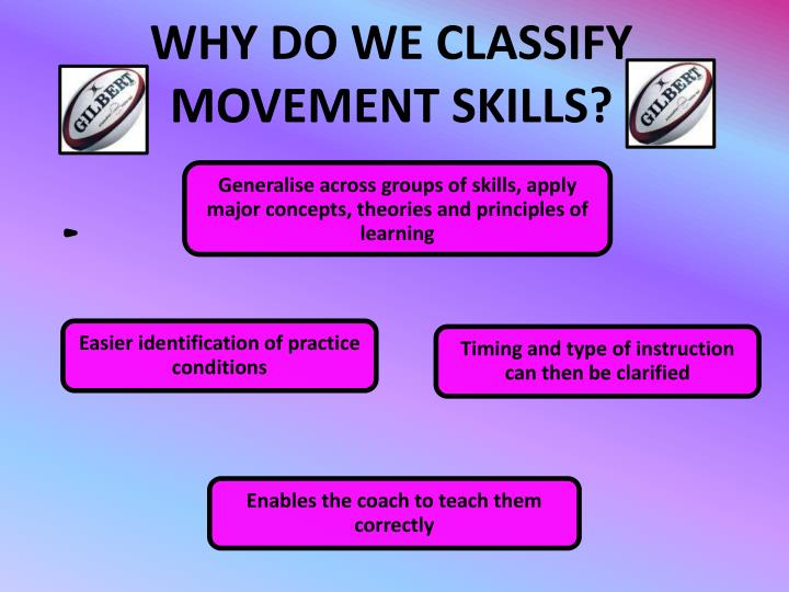 Why do we classify movement skills