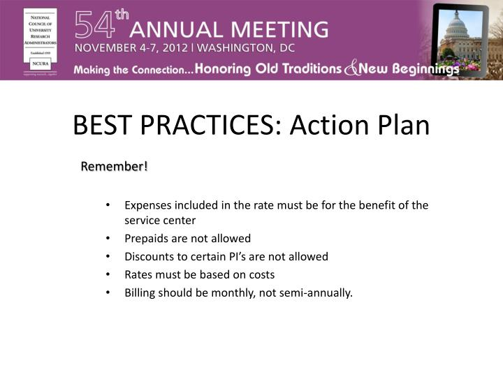 BEST PRACTICES: Action Plan
