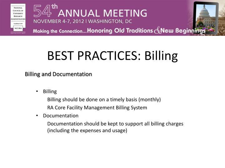 BEST PRACTICES: Billing