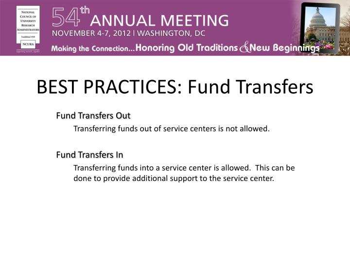 BEST PRACTICES: Fund Transfers
