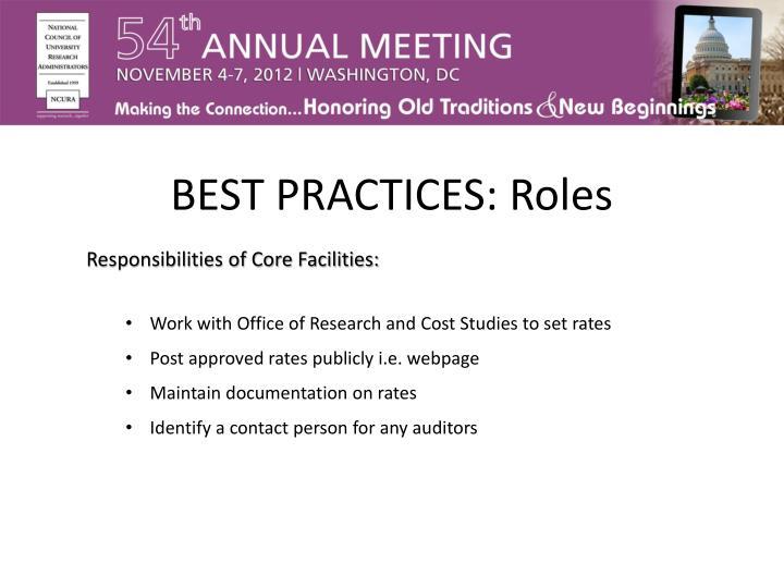 BEST PRACTICES: Roles
