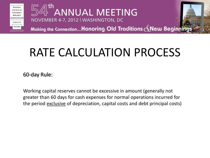 RATE CALCULATION PROCESS
