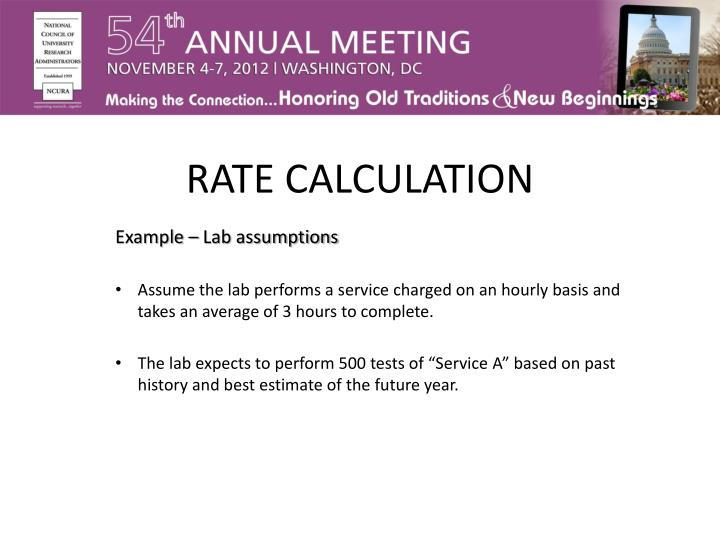 RATE CALCULATION