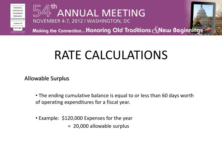 RATE CALCULATIONS