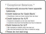 exceptional balances