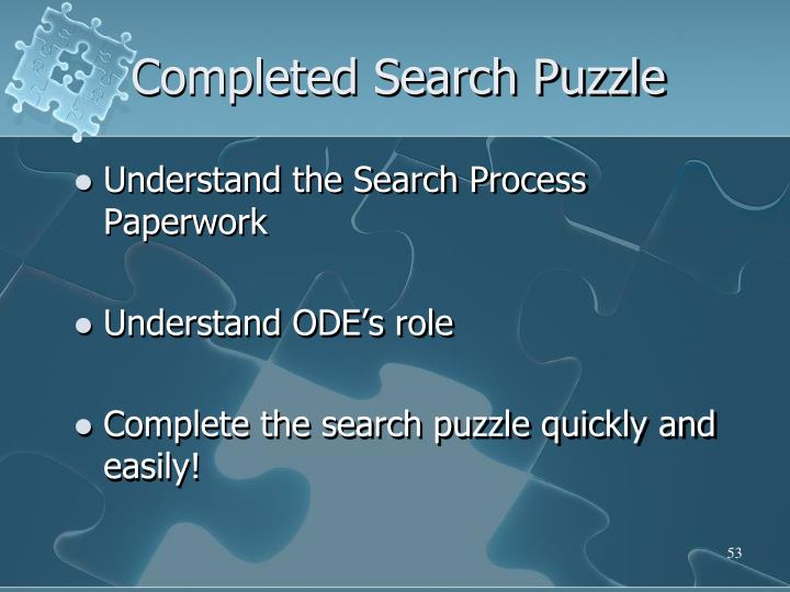 Completed Search Puzzle