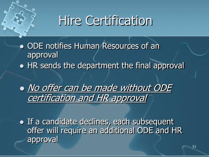 Hire Certification