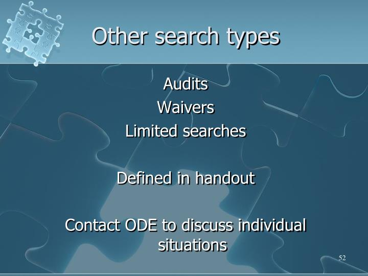 Other search types