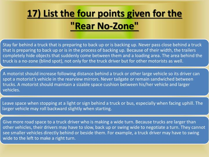 17) List the four points given for the