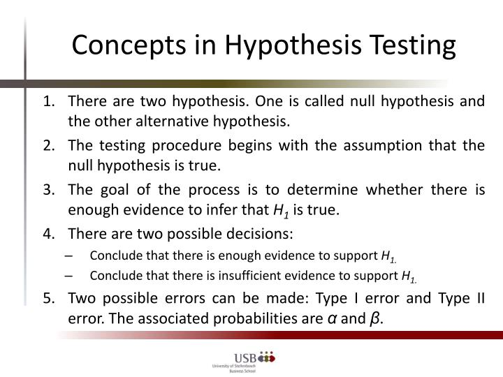 Concepts in Hypothesis Testing