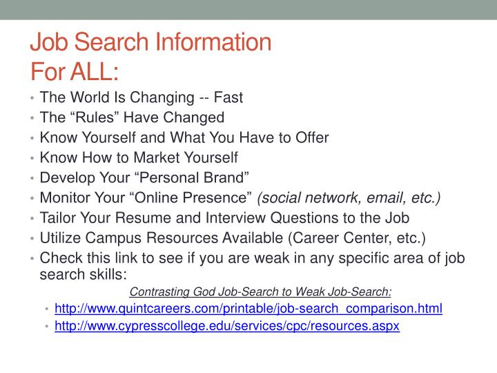 Job search information for all