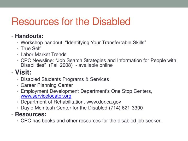 Resources for the Disabled