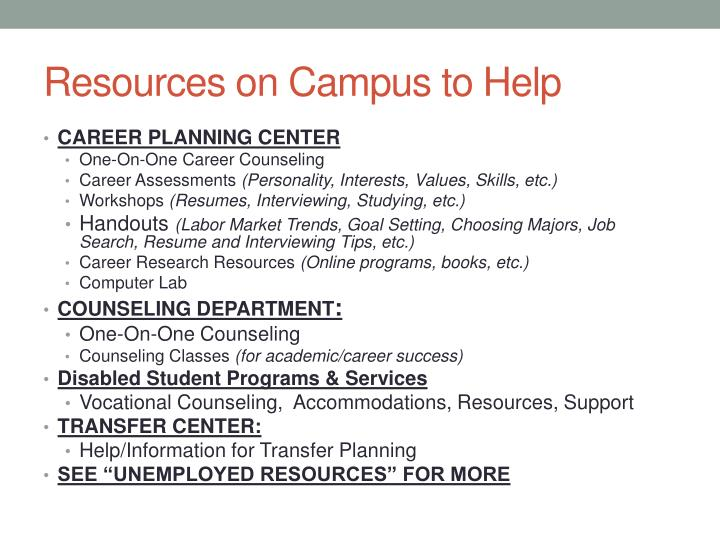 Resources on campus to help