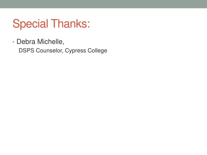Special Thanks:
