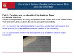 university of sydney academic governance rule 2003 as amended