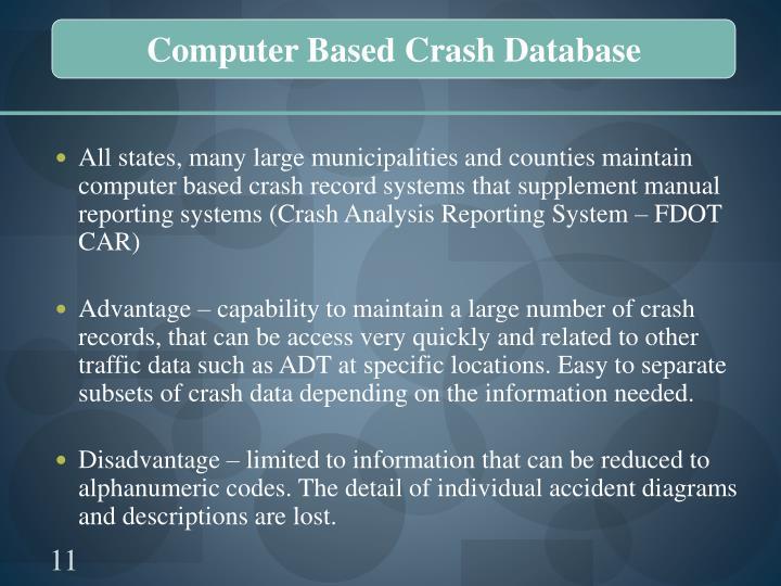 Computer Based Crash Database