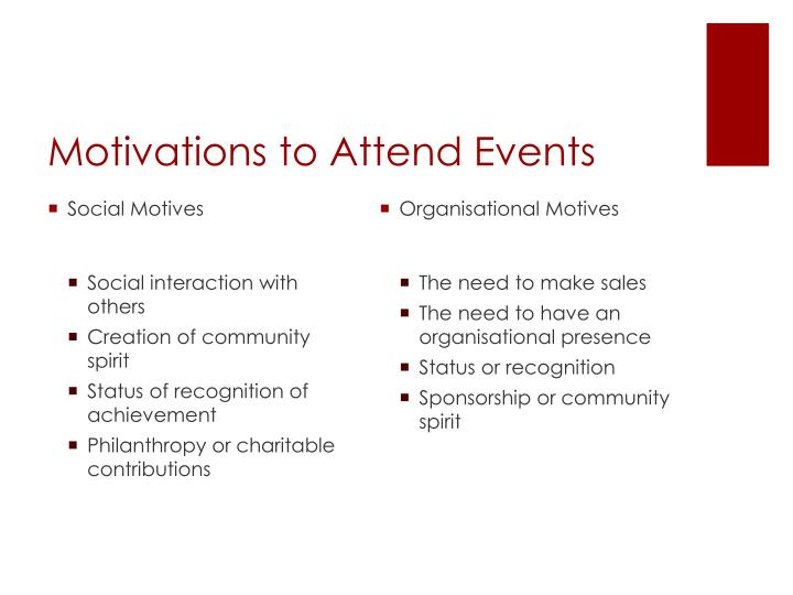 Motivations to attend events