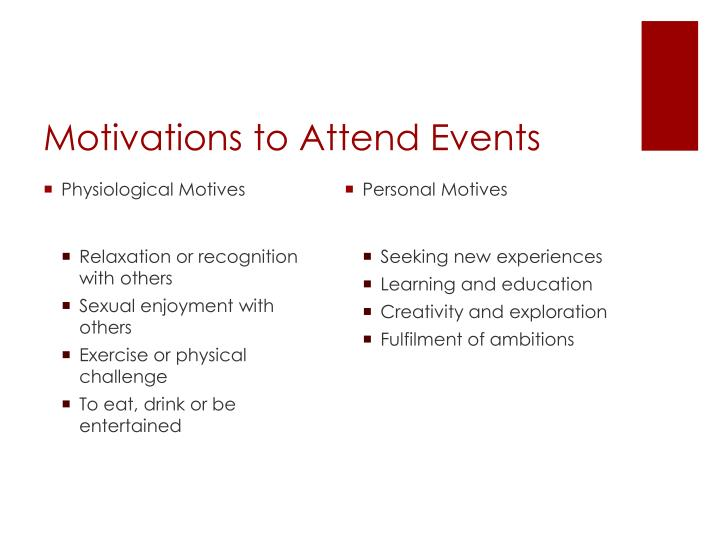 Motivations to attend events1