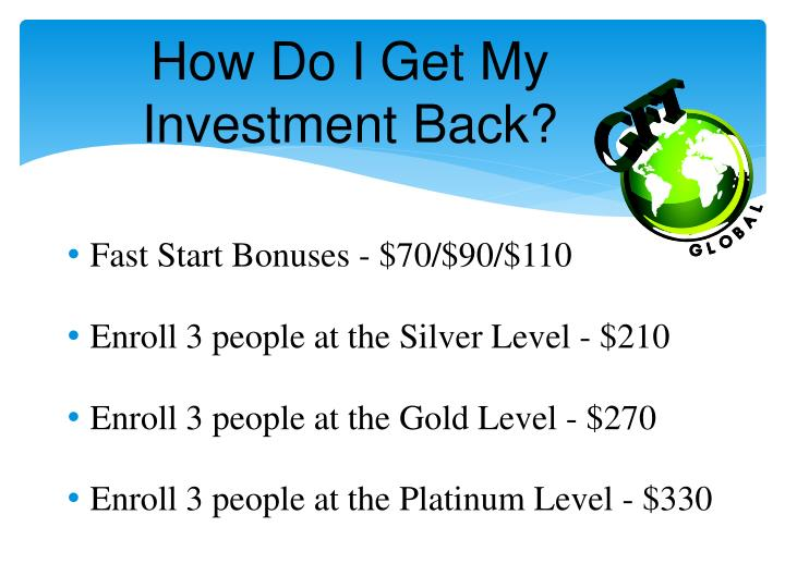 How Do I Get My Investment Back?