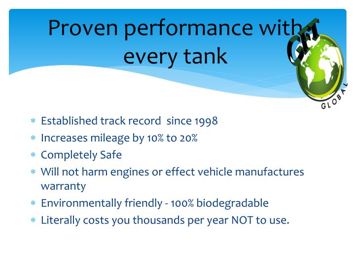 Proven performance with every tank