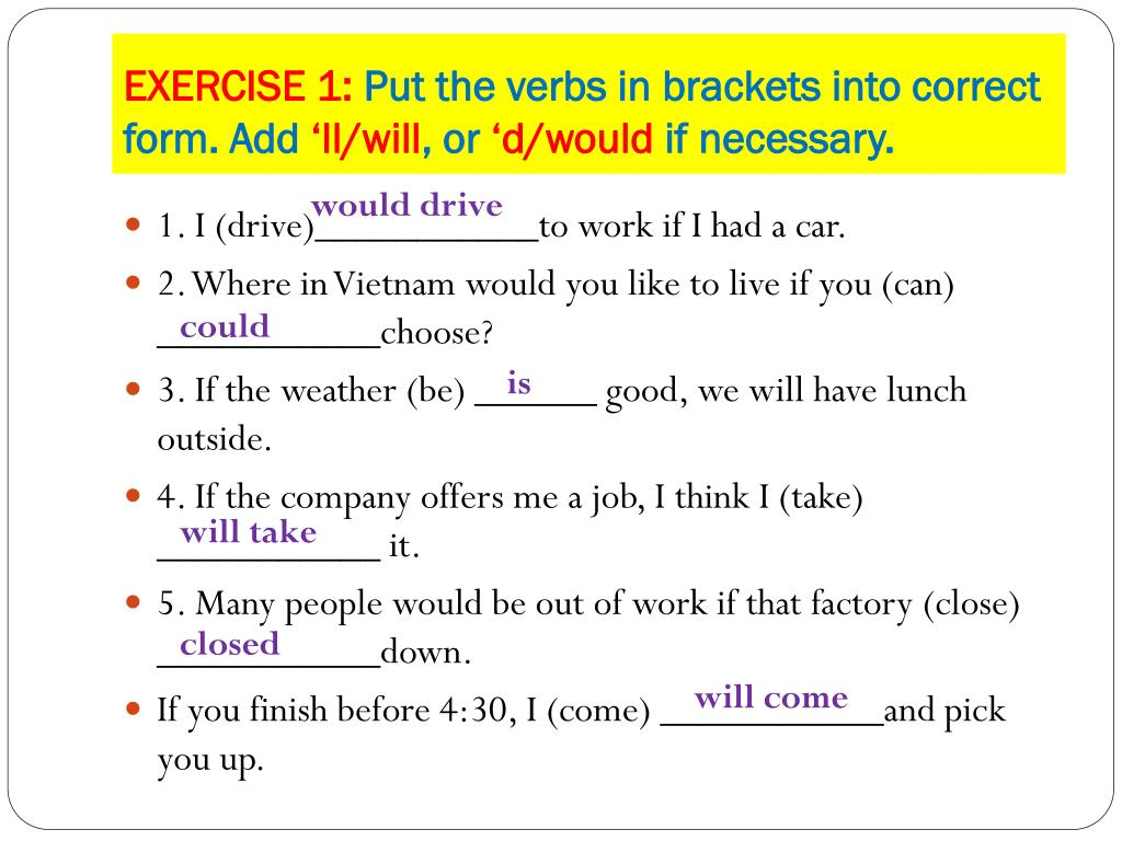 complete the following sentences with the correct form of