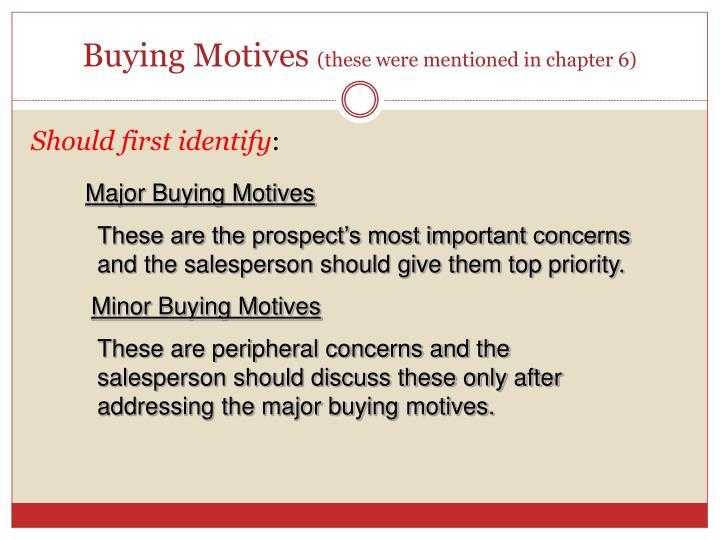 Buying Motives